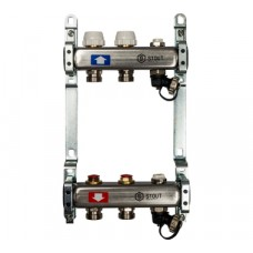 STOUT Коллектор из нержавеющей стали без расходомеров, с клапаном вып. воздуха и сливом 2 вых.