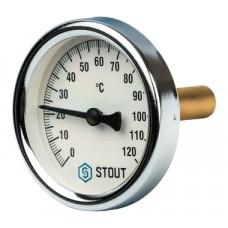 """STOUT Термометр биметаллический с погружной гильзой. Корпус Dn 63 мм, гильза 50 мм, резьба с самоуплотнением 1/2"""""""