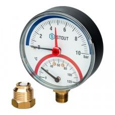 """STOUT Термоманометр радиальный в комплекте с автоматическим запорным клапаном. Корпус Dn 80 мм 1/2"""""""