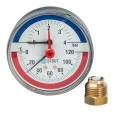 """STOUT Термоманометр аксиальный в комплекте с автоматическим запорным клапаном. Корпус Dn 80 мм 1/2"""""""