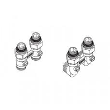 REHAU Блок шаровых кранов G1/2xG3/4 с соединительным нипелем, угловой